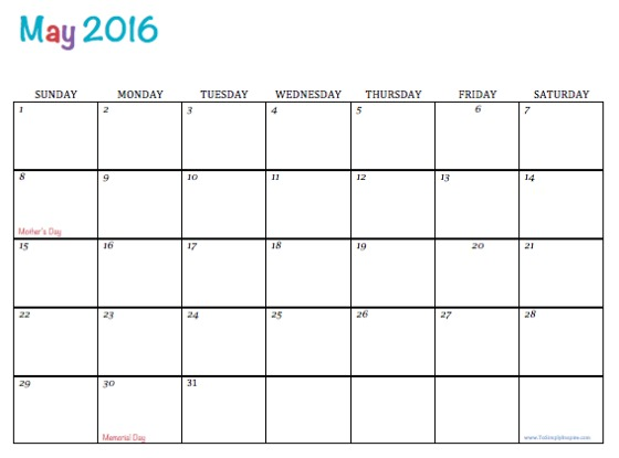 Free Printable Monthly Calendars 2012May