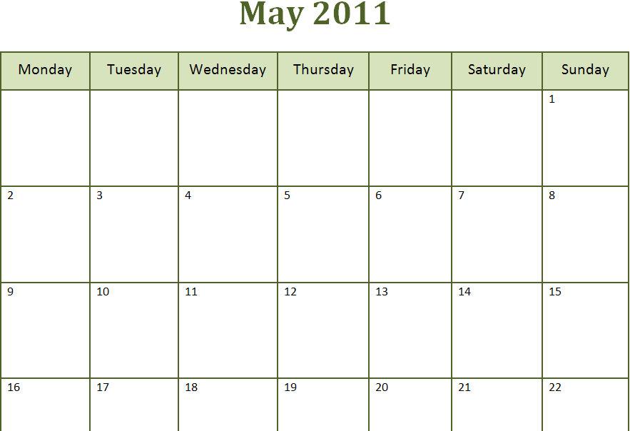 May 2016 Calendar Printable Free