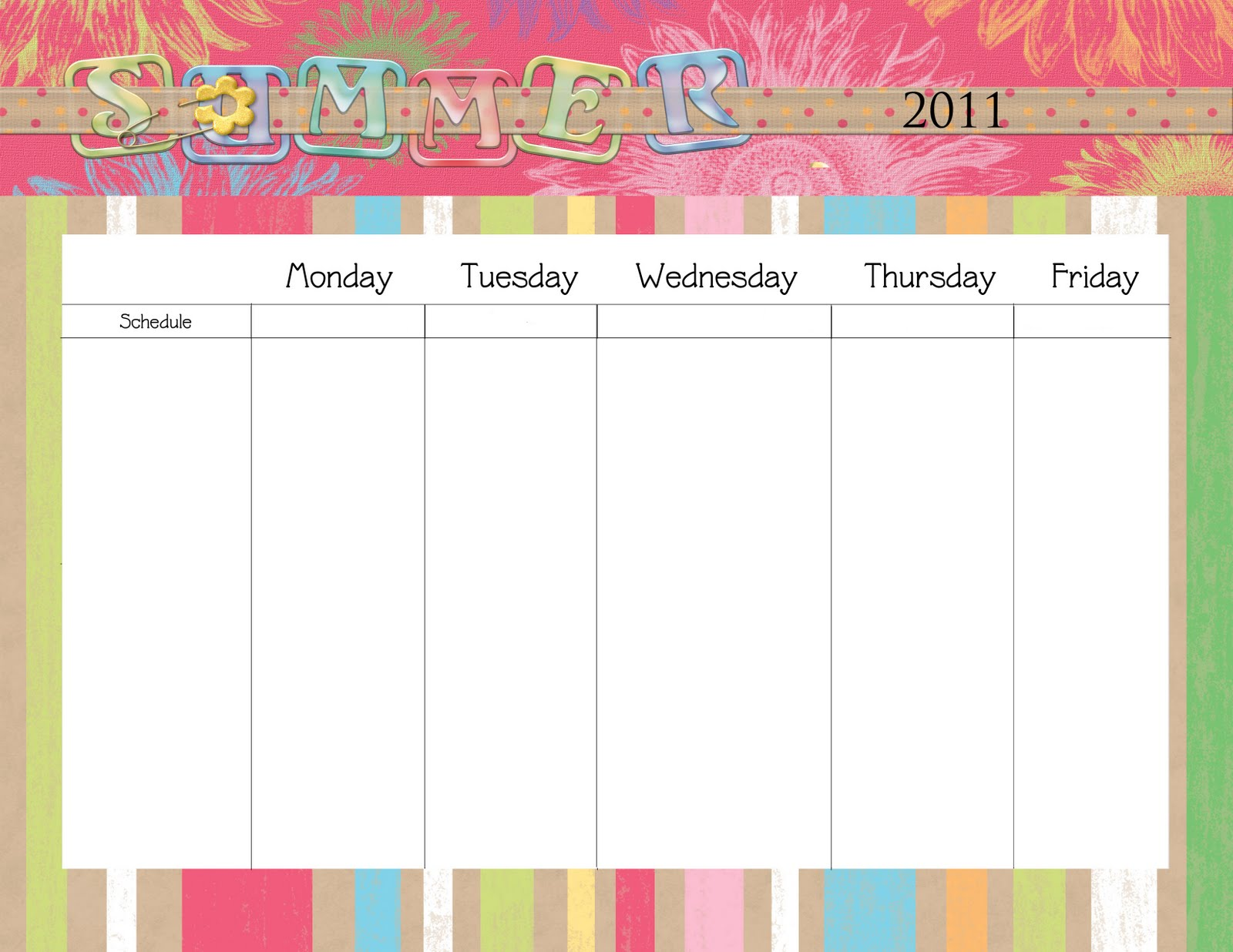 Printable Blank Summer Schedule for Kids