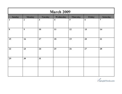 Blank Monthly Calendar Template