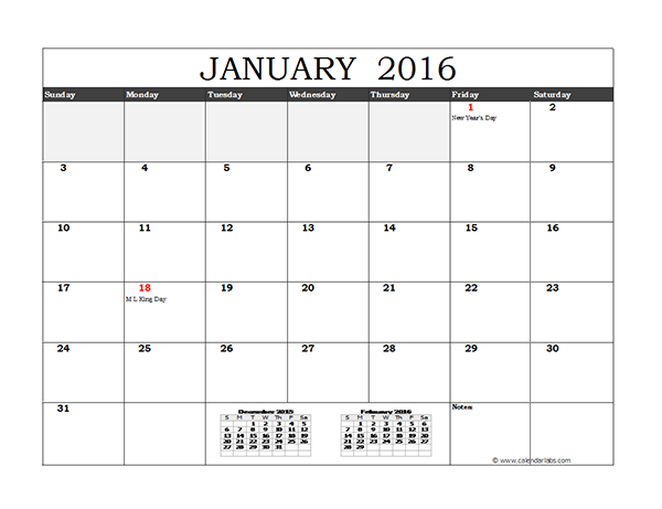 2016 Monthly Calendar Template Excel
