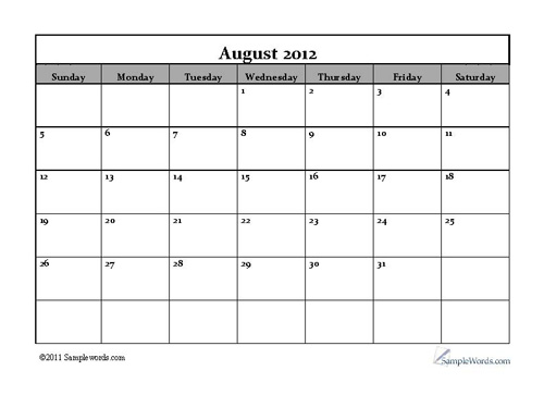 Printable Monthly Calendars 2012 September
