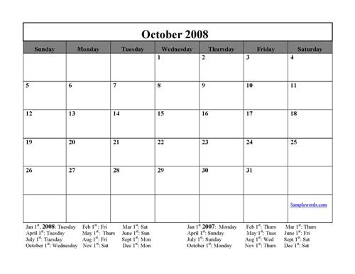 May 2008 Calendar Printable