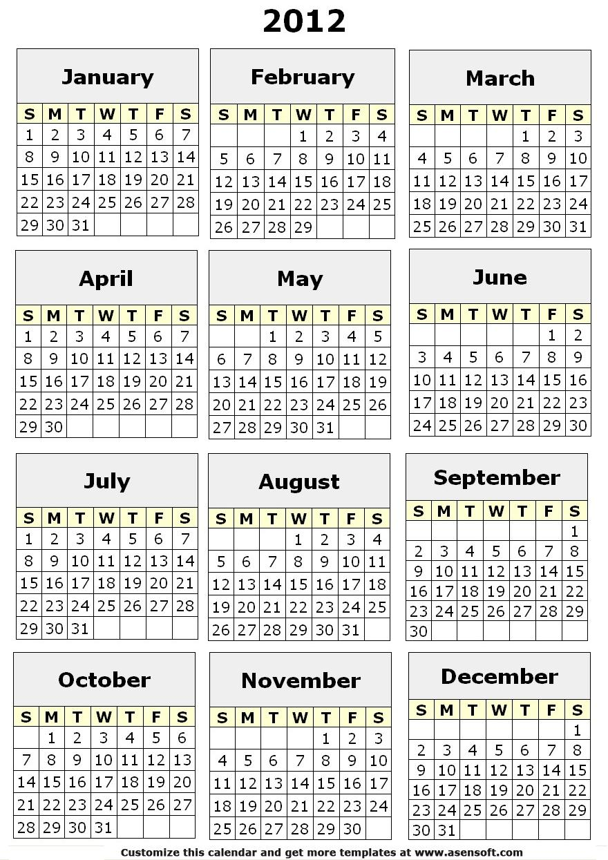 Printable 2015 6 Month Calendar Template