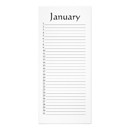Perpetual Calendar January Rack Card Template | Zazzle