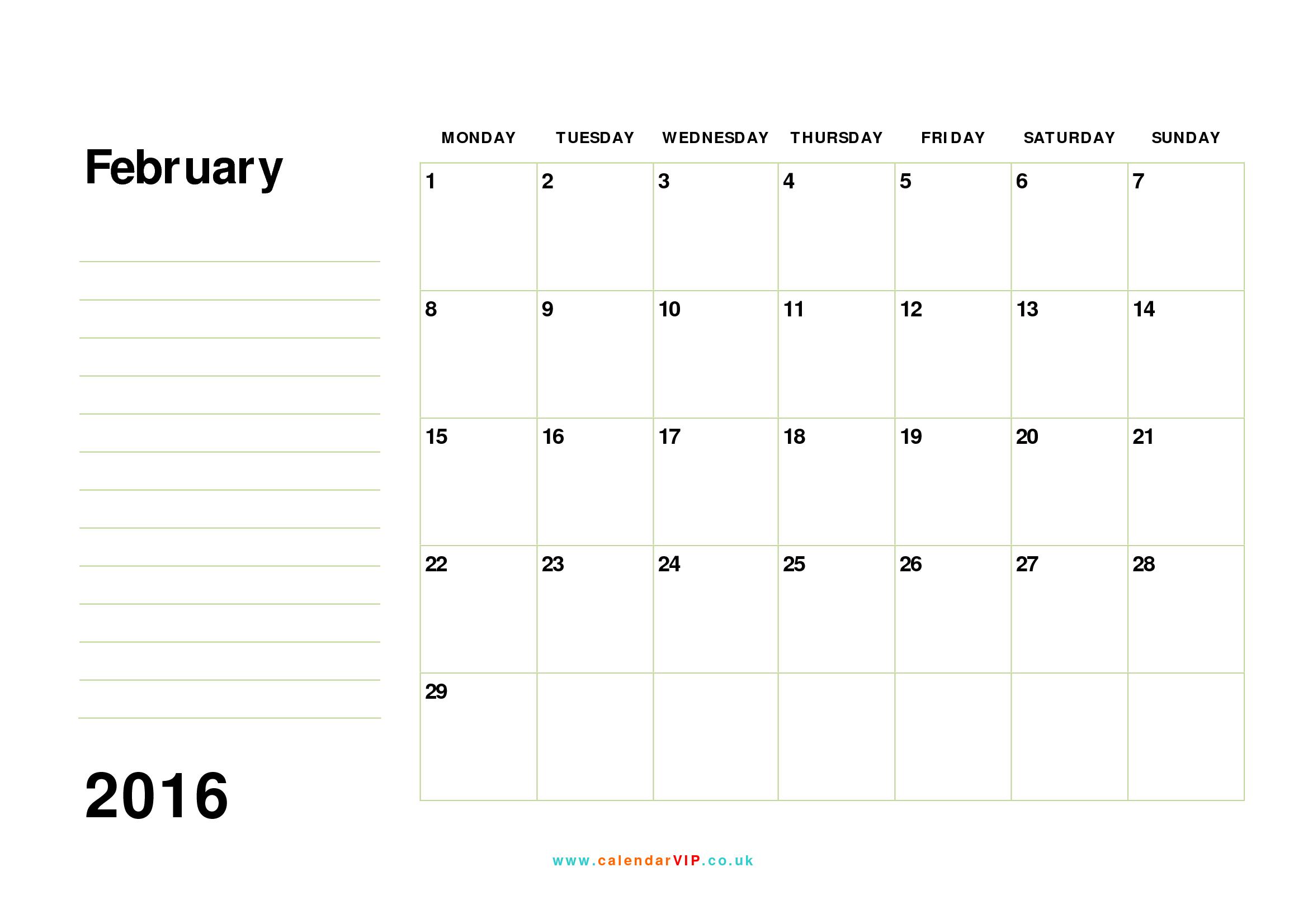 February 2016 Calendar Printable Template