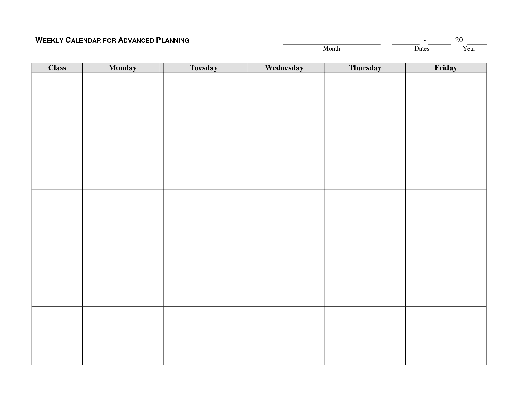Monday through Friday Weekly Calendar Template