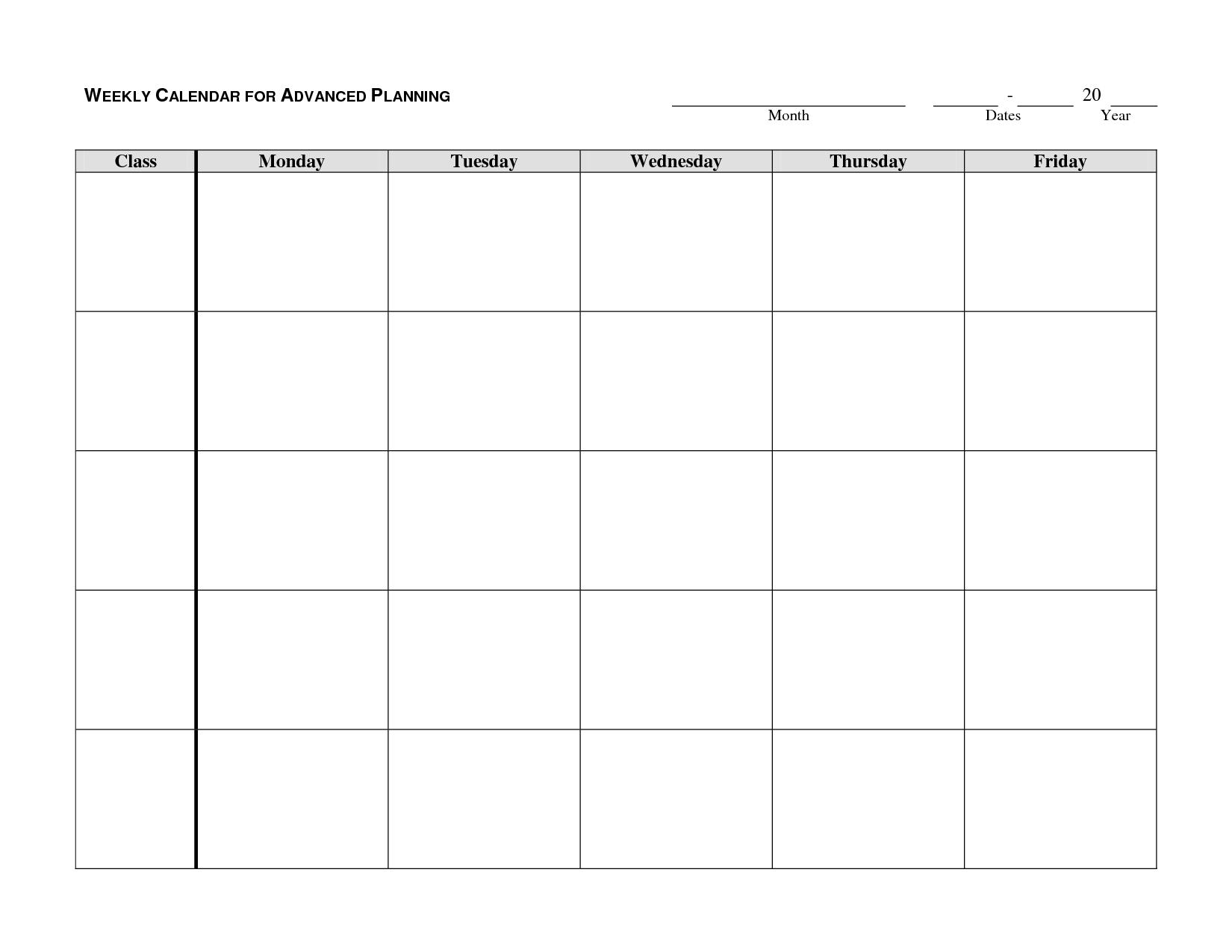 Weekly calendar template monday friday