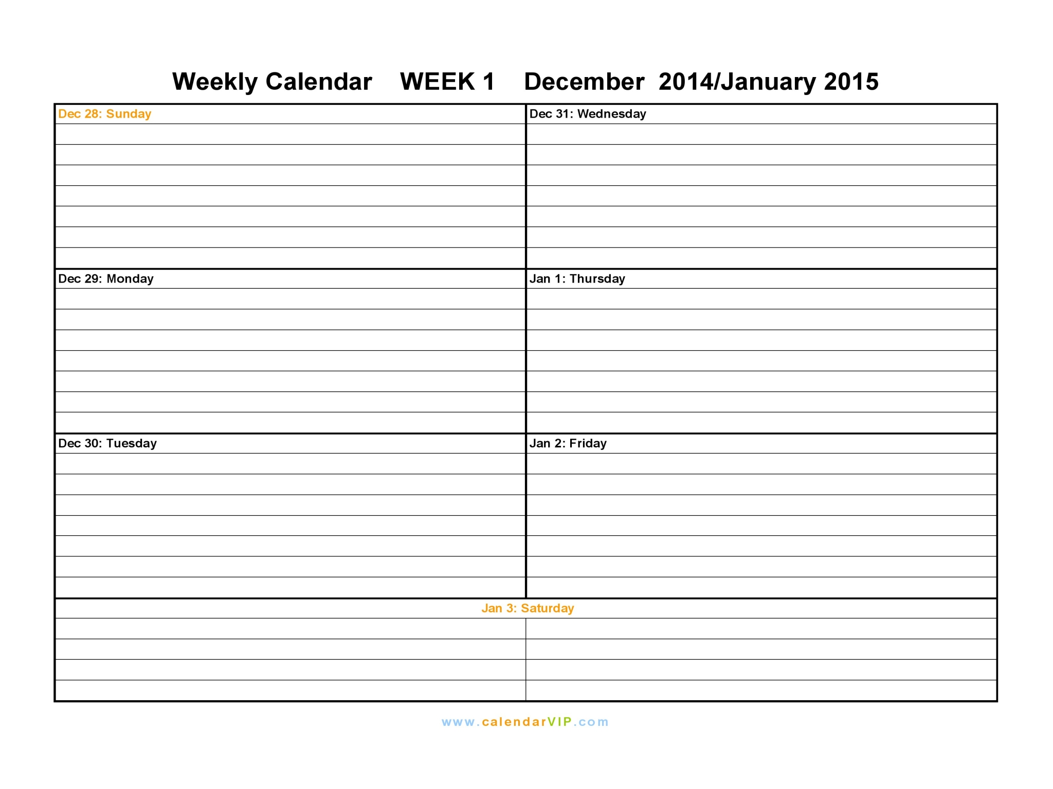 Free Weekly Calendar Templates 2015