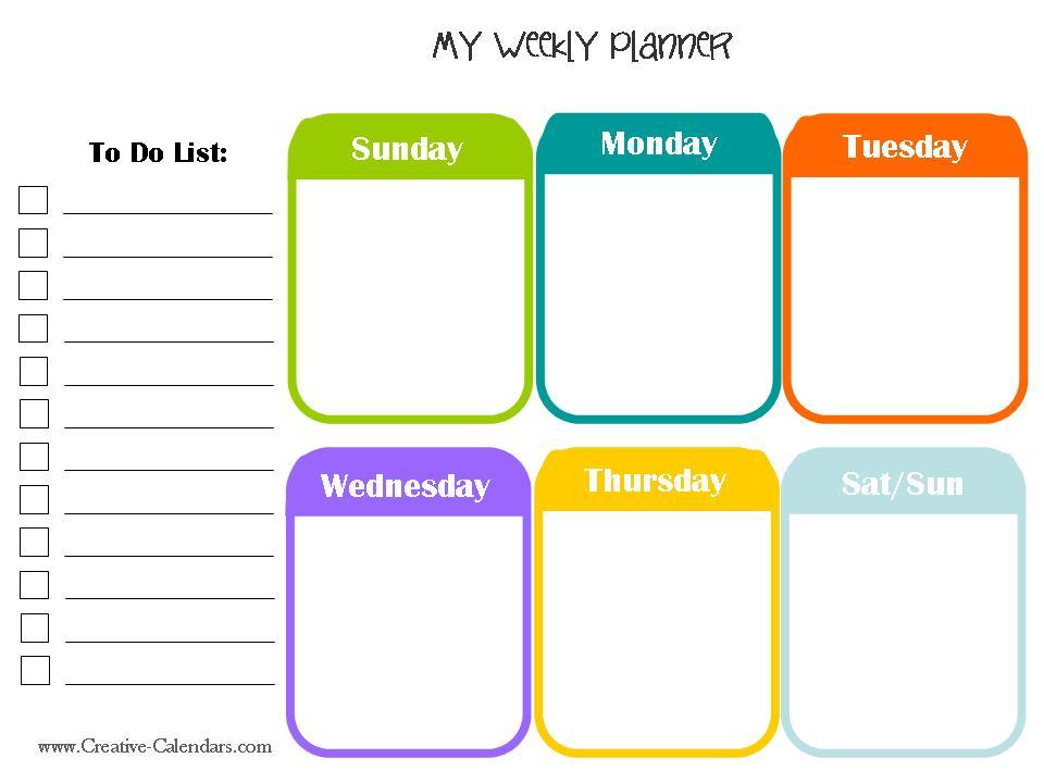 Printable Weekly Planner Calendars