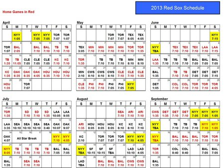 Boston Red Sox Schedule