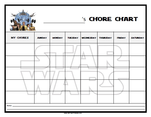 Star Wars Free Printable Chore Chart