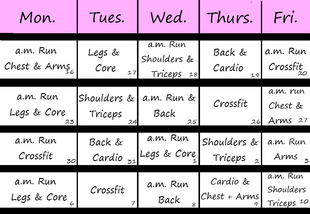 Exercise Workout Schedule