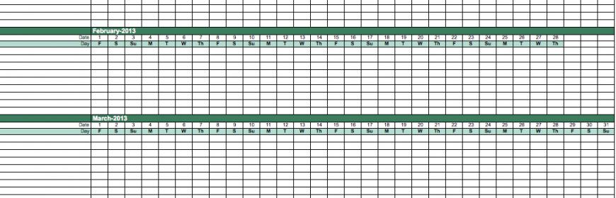 2013 Employee Attendance Calendar Template