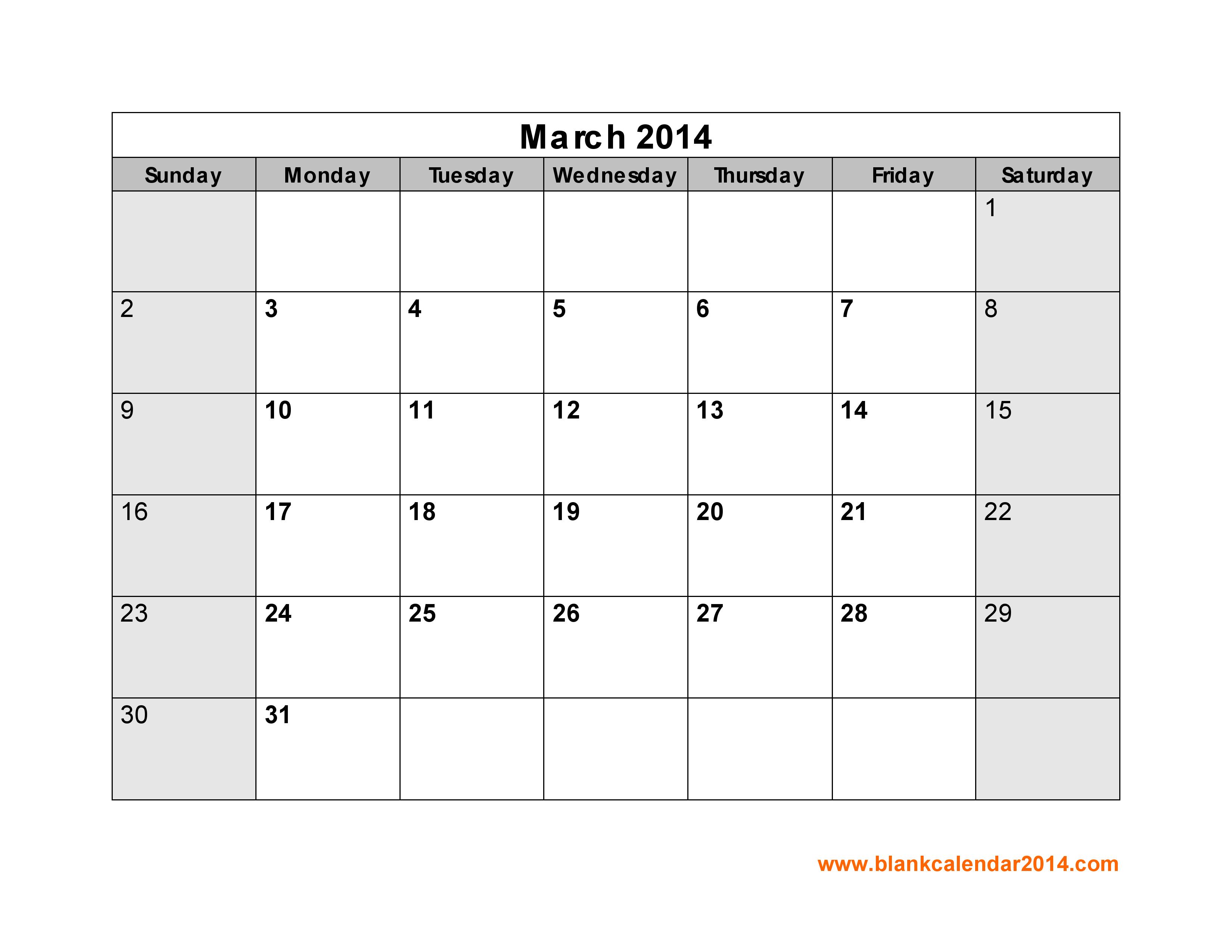 Blank March 2014 Calendar Printable
