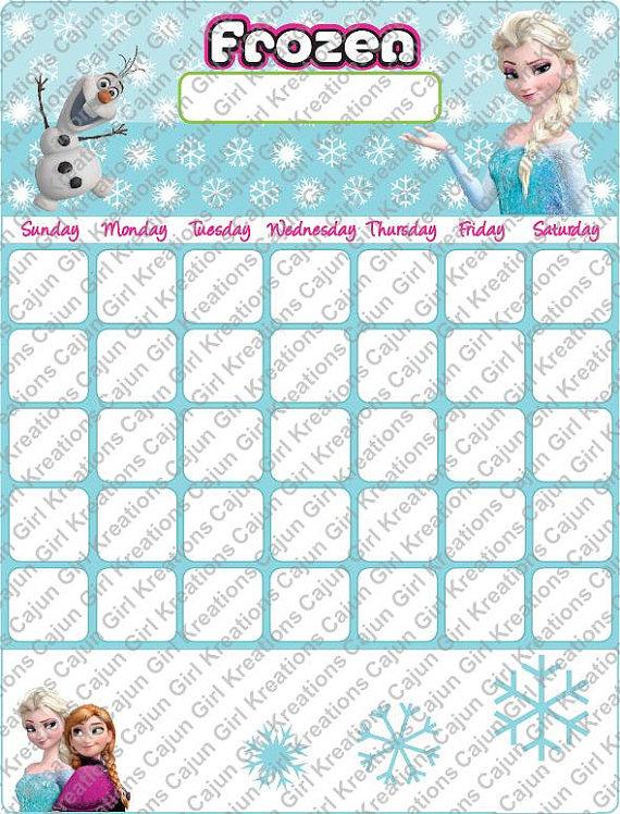 Disneys Frozen Printable Calendar Print Many or Illaminate & Use as a