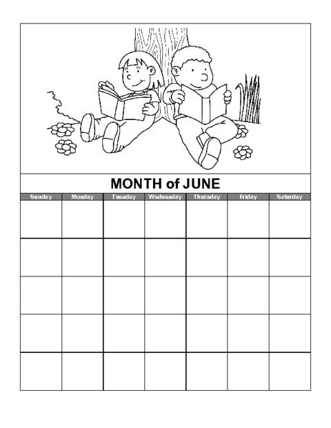 June Kids Calendar Template