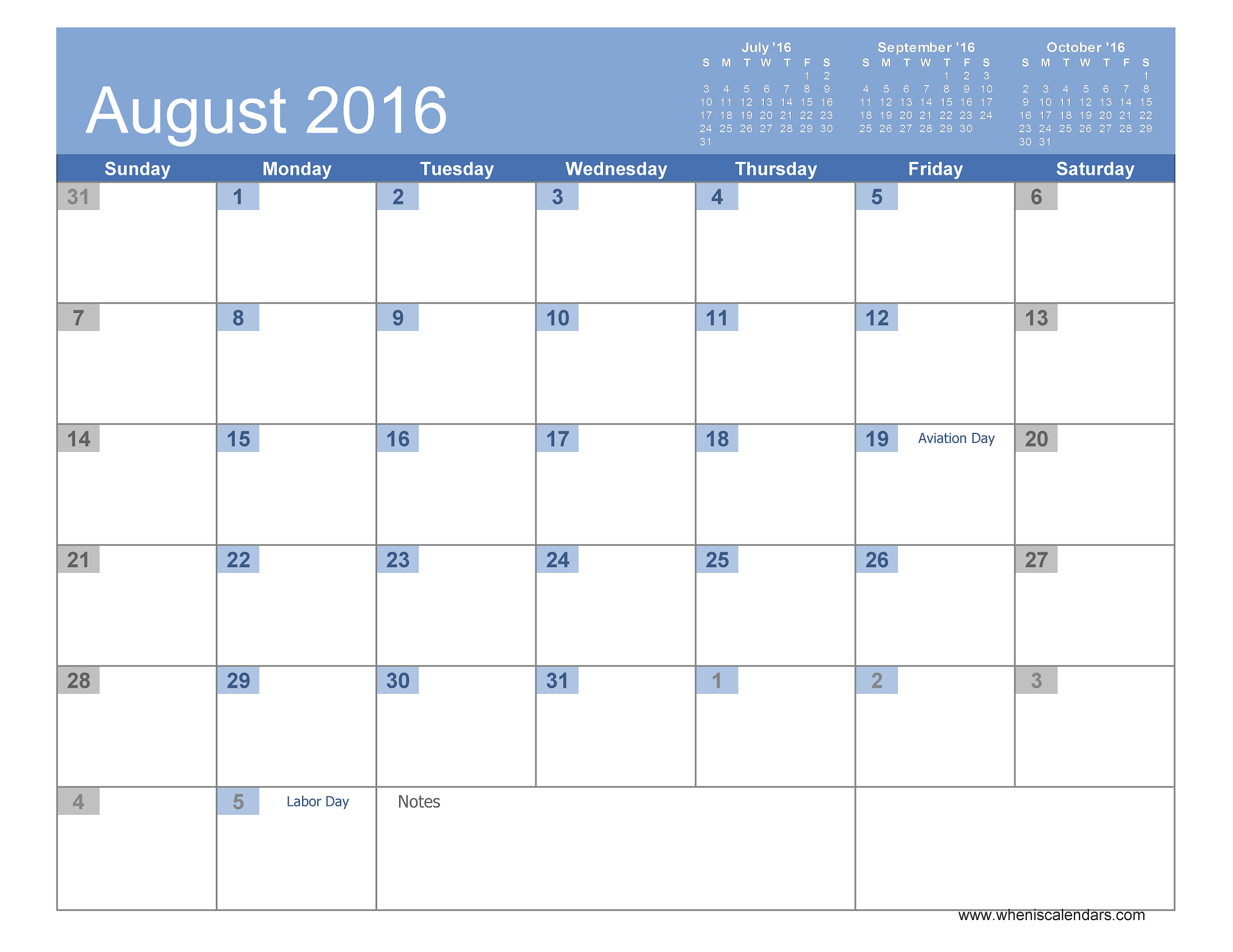 August 2016 Calendar Printable  Page 4 of 20  When is Calendar
