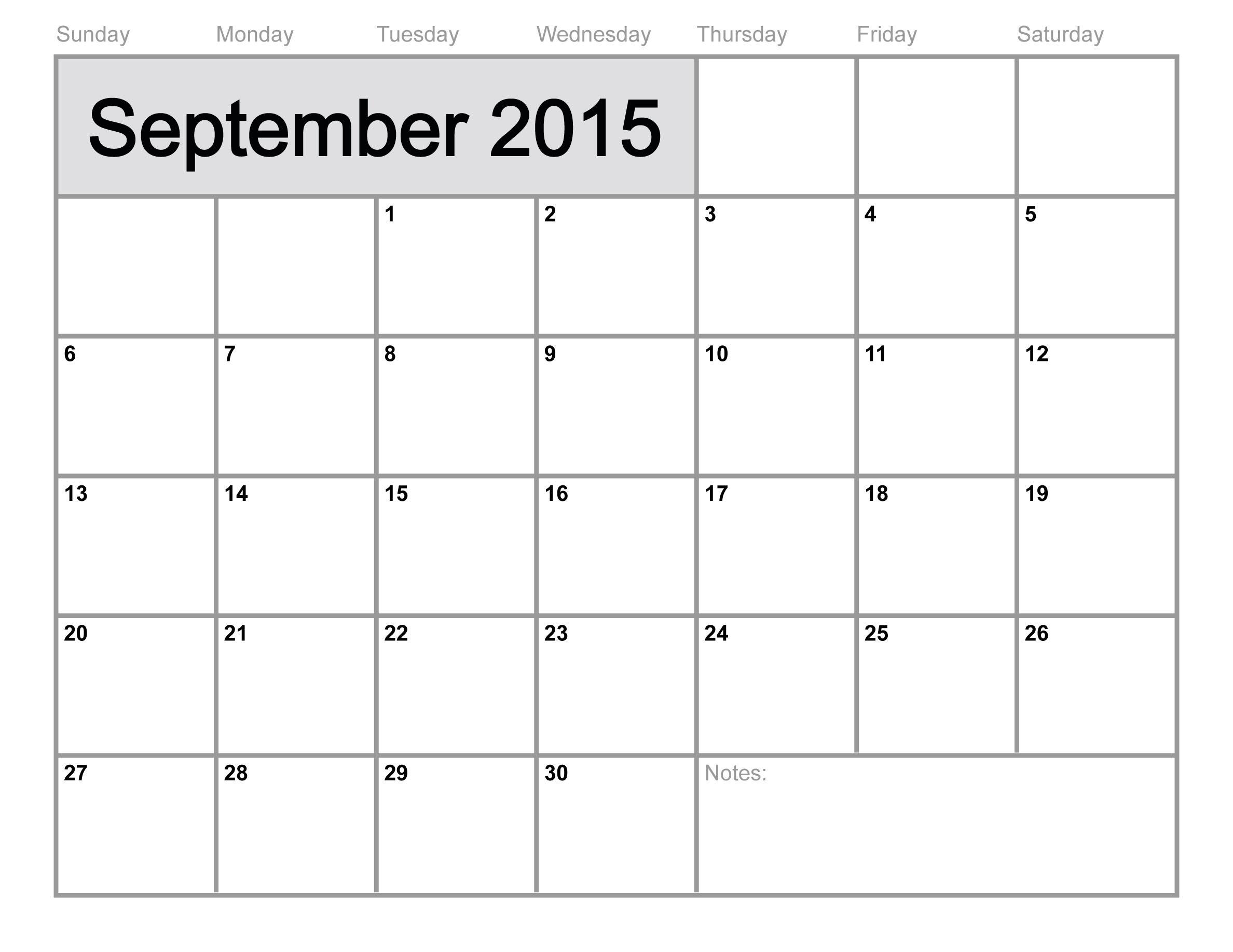 September 2015 Calendar Printable June