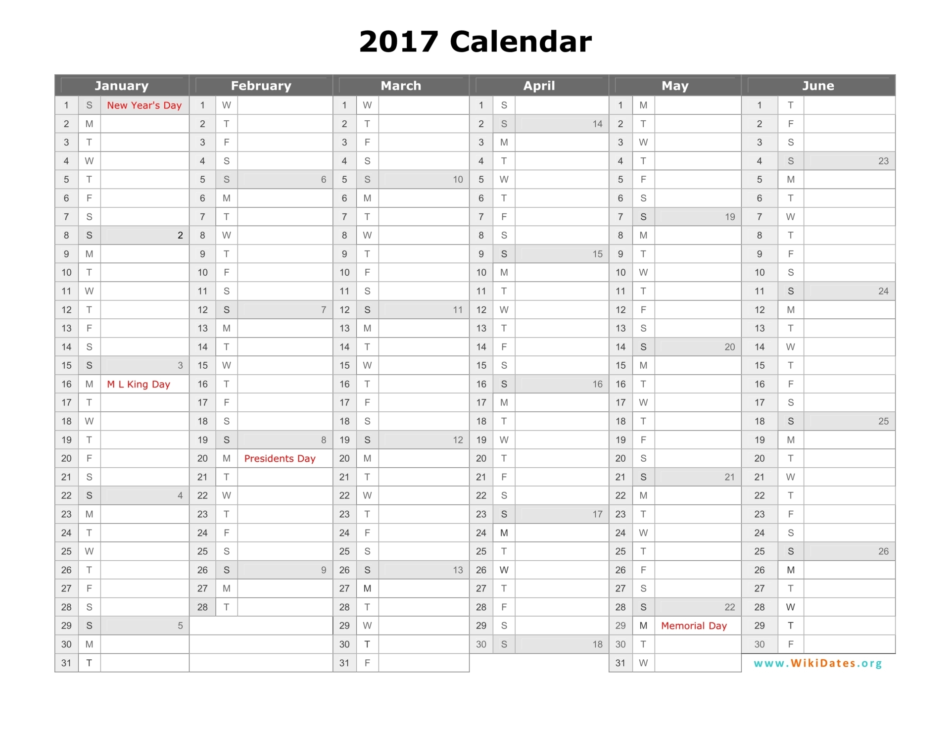 quarterly calendar template 2017