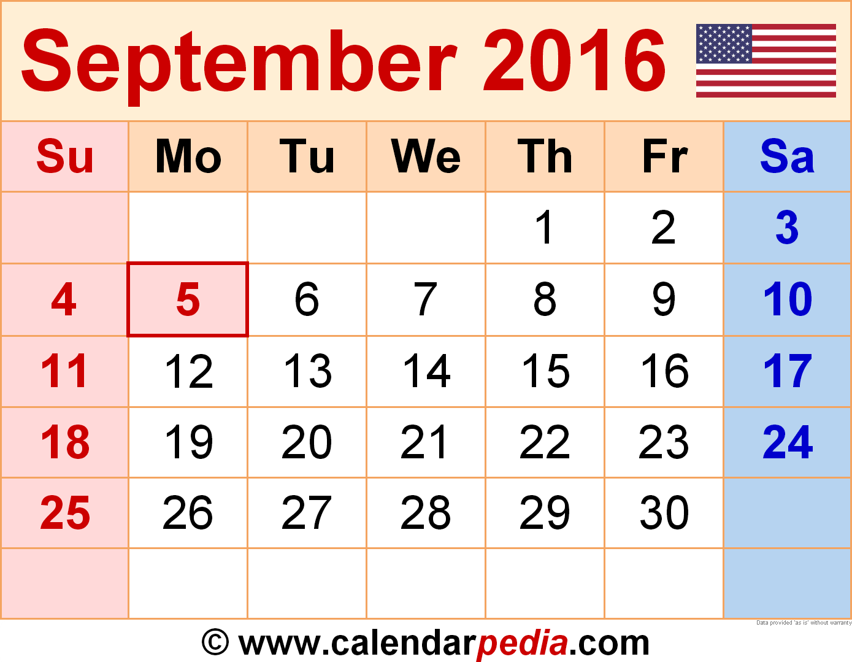 August September Calendar 2016