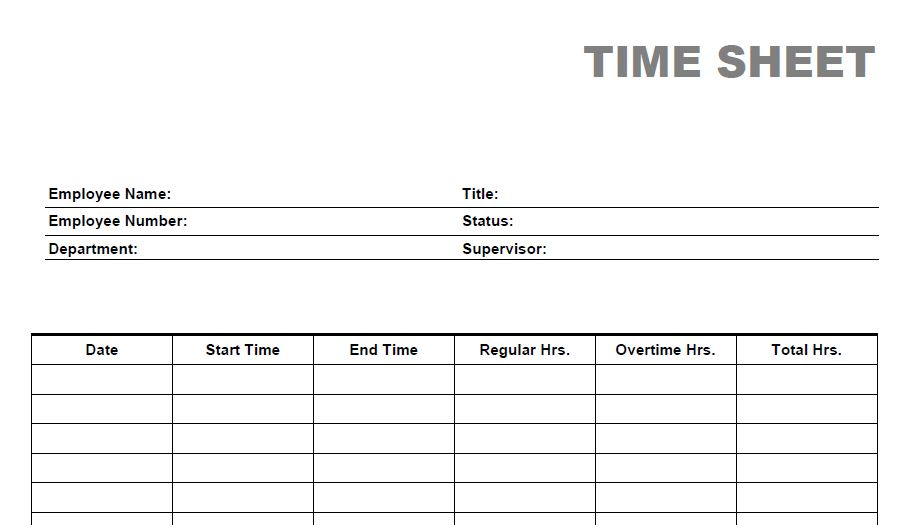 Printable Weekly Time Sheets Templates