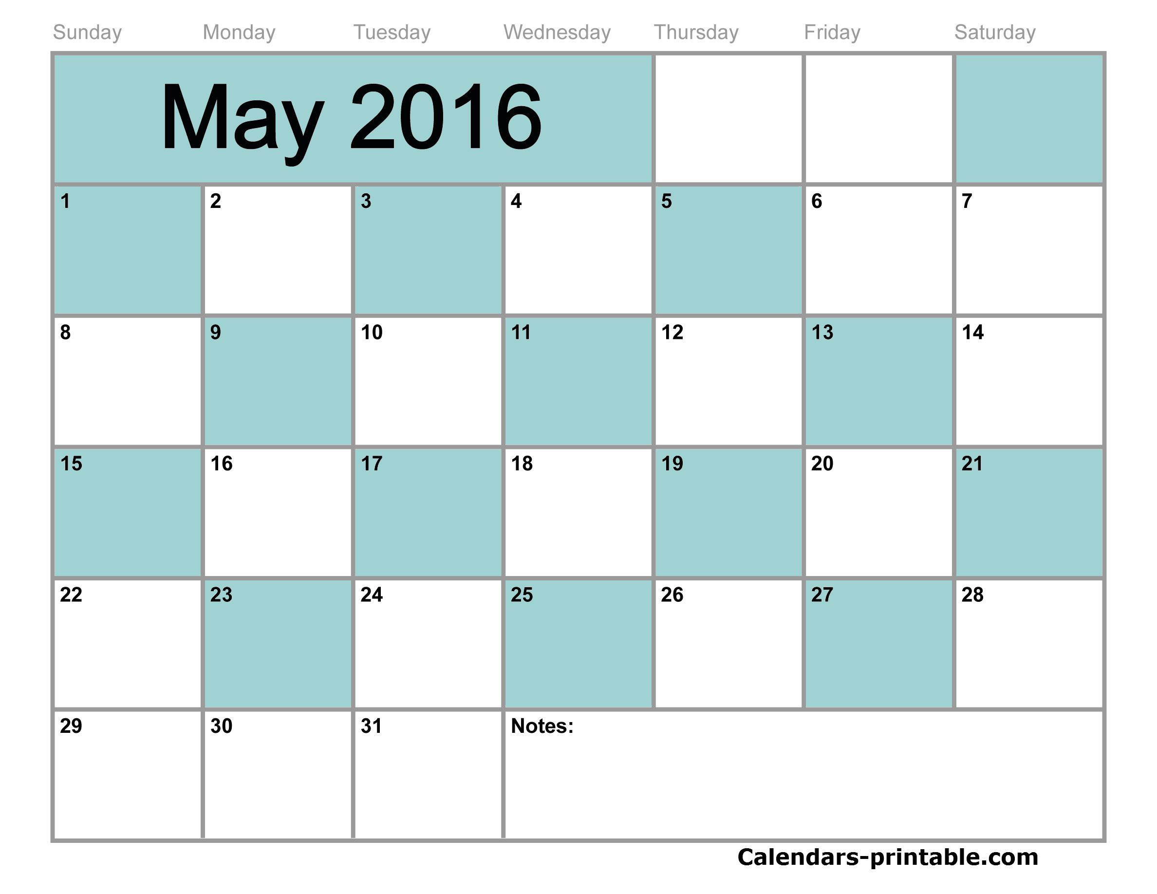 Blank May Calendar 2016 Printable