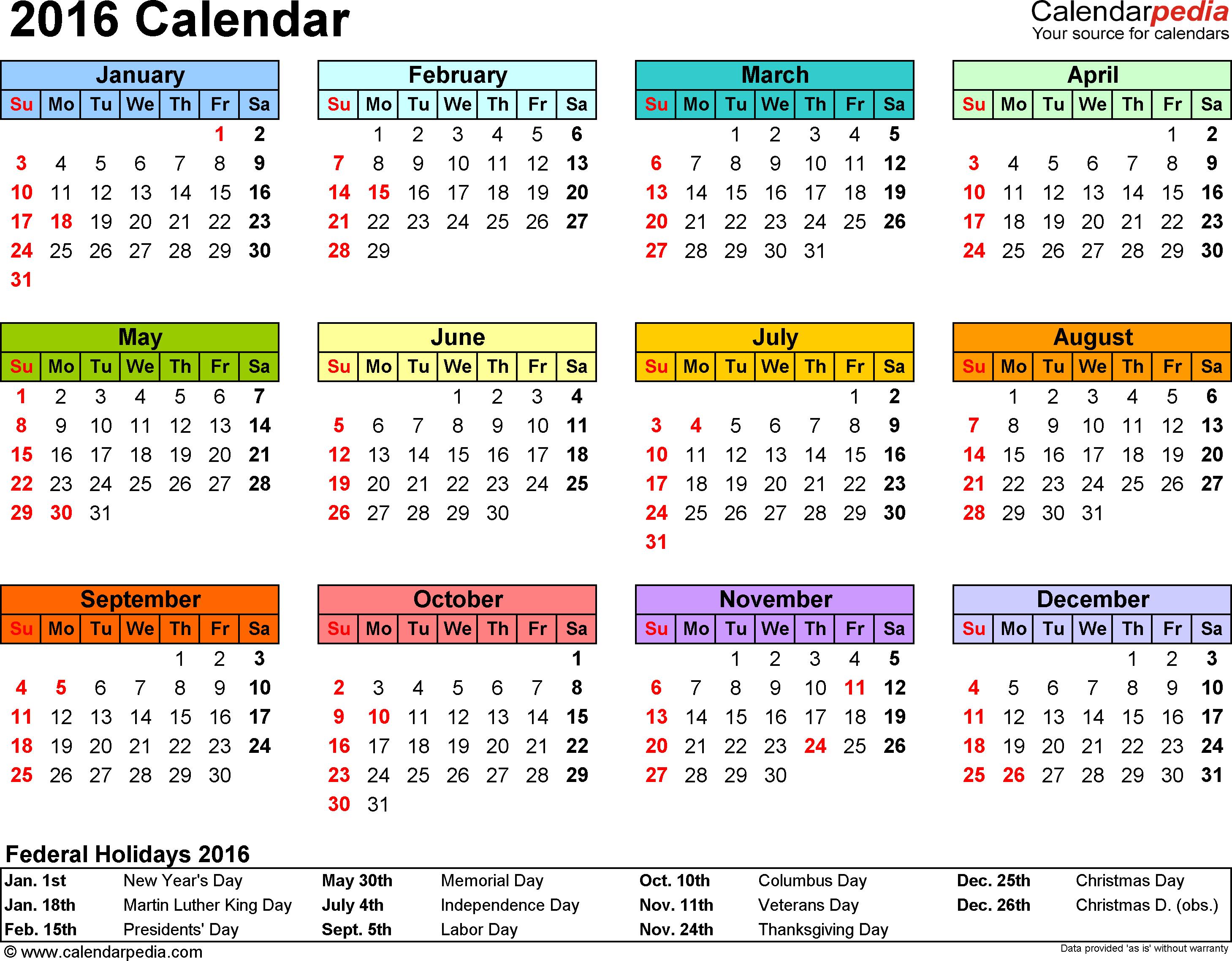 2016 Calendar Printable One Page PDF