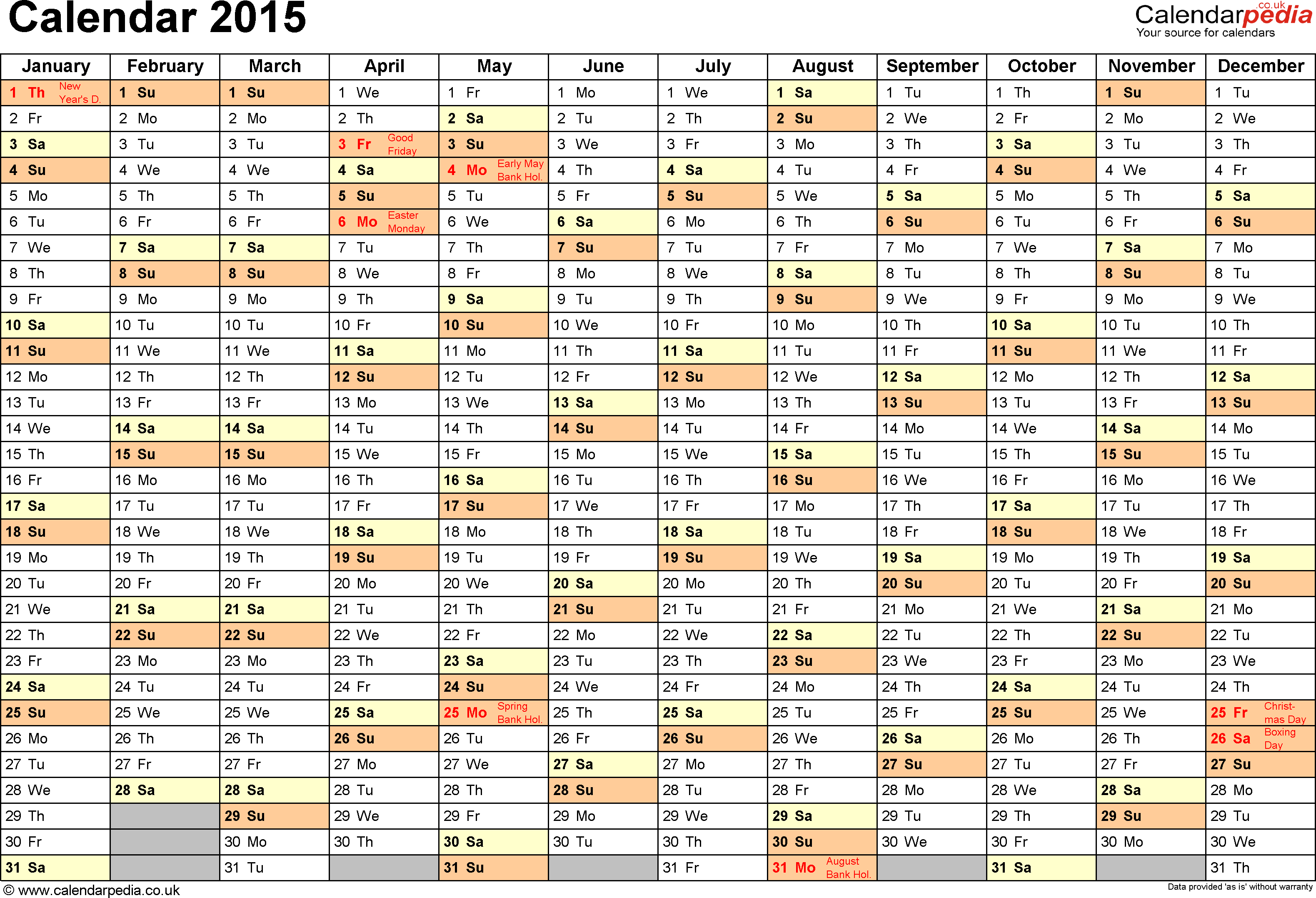 2015 Year Planner Template