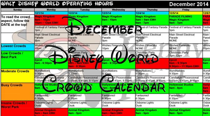 Disney World Crowd Calendar December 2014