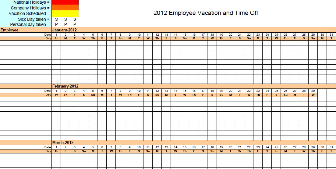 Vacation accrual spreadsheet template calendar template 2018 for Yearly vacation calendar template