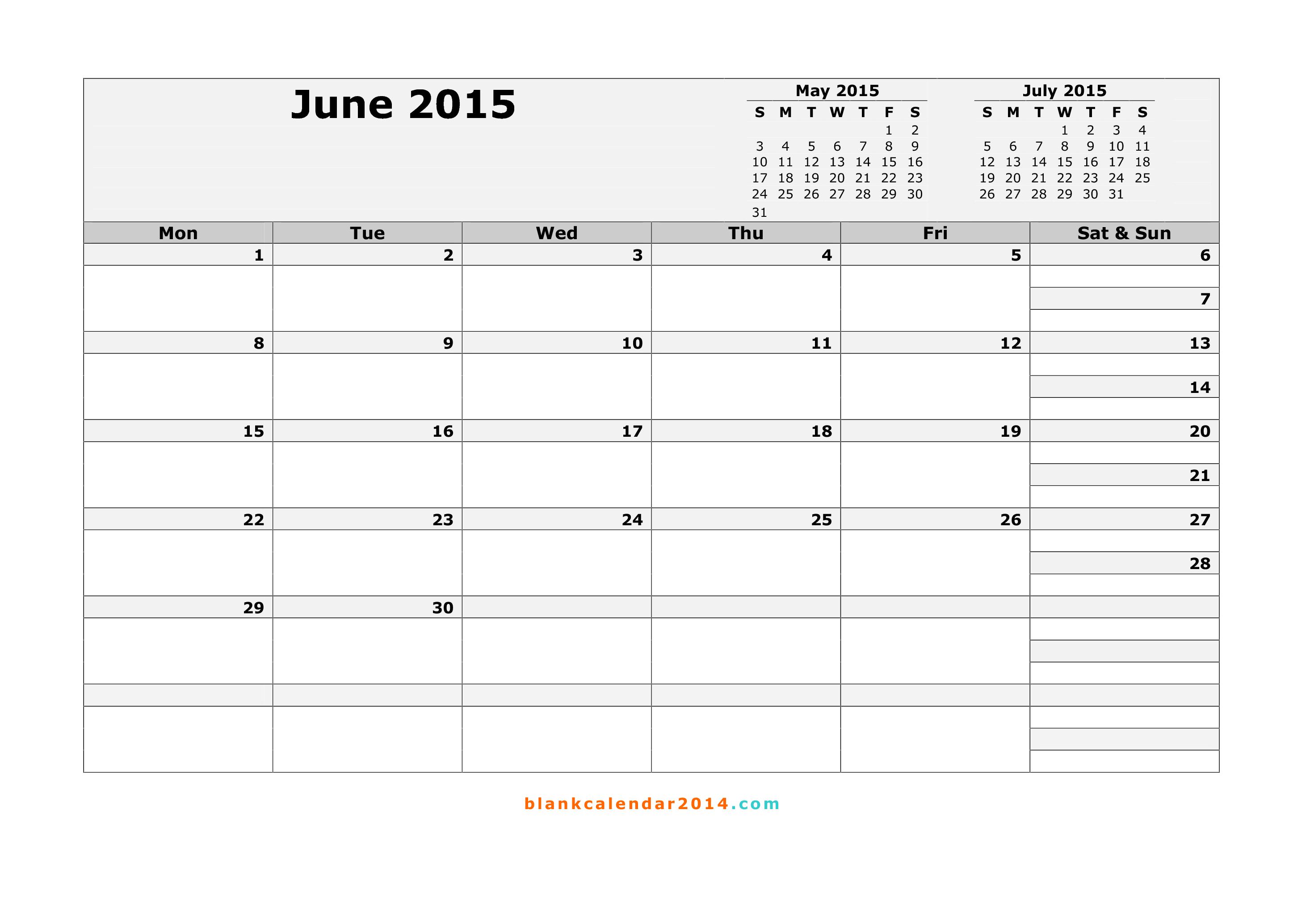 Free Printable Month Calendar June 2015