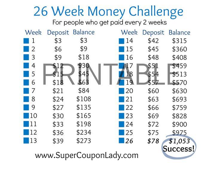 26Week Money Challenge Printable