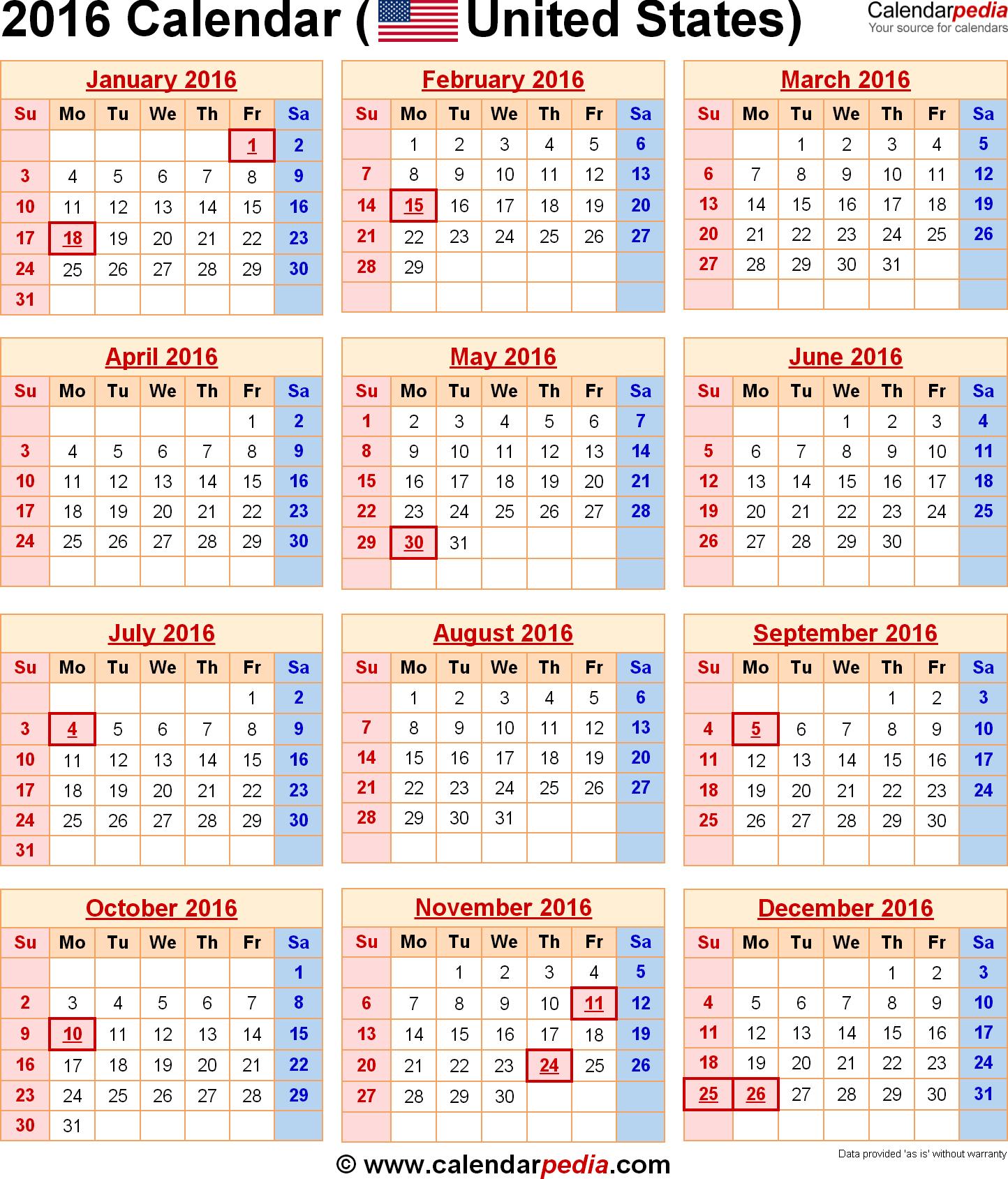 Federal Calendar 2016 Printable with Holidays USA