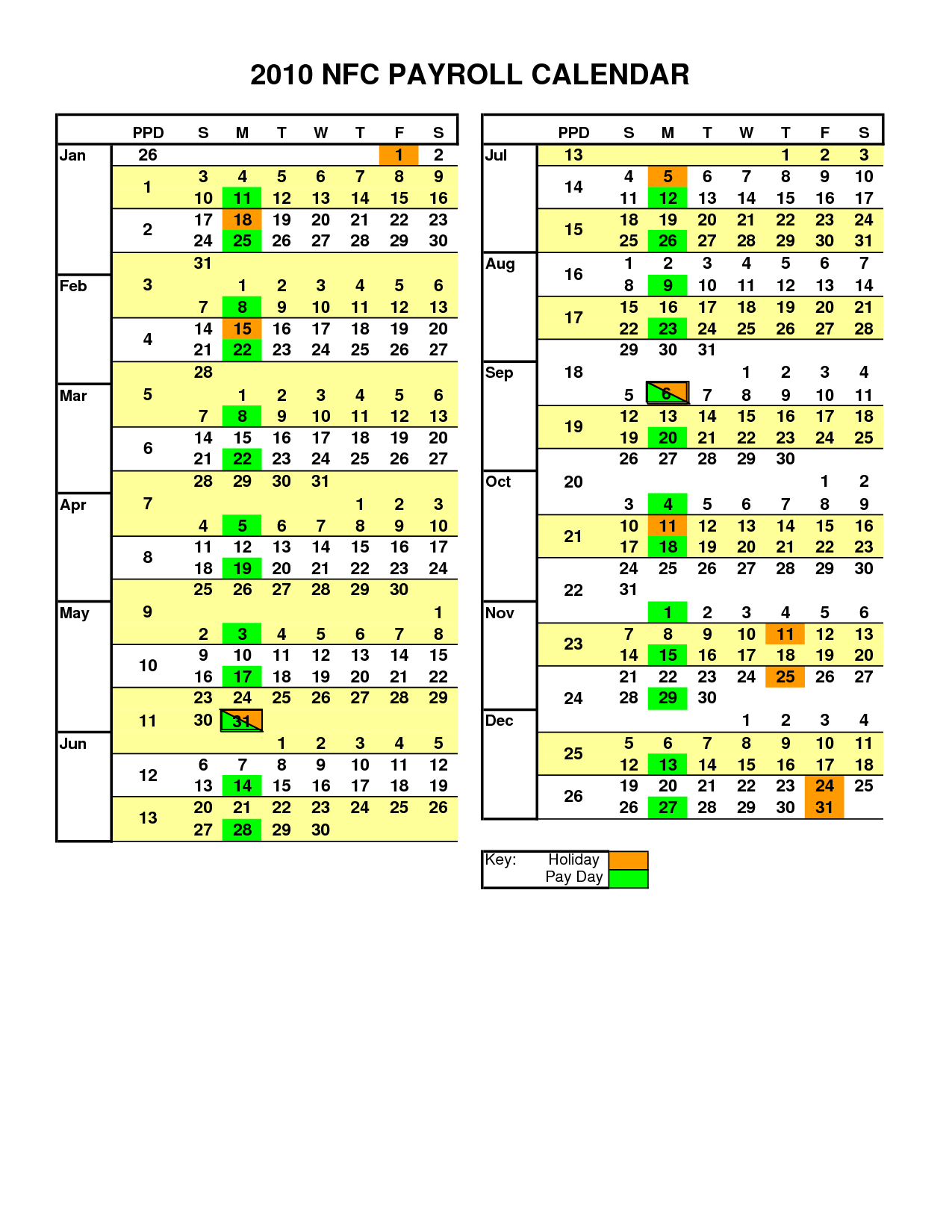 ADP Payroll Calendar 2016 Printable