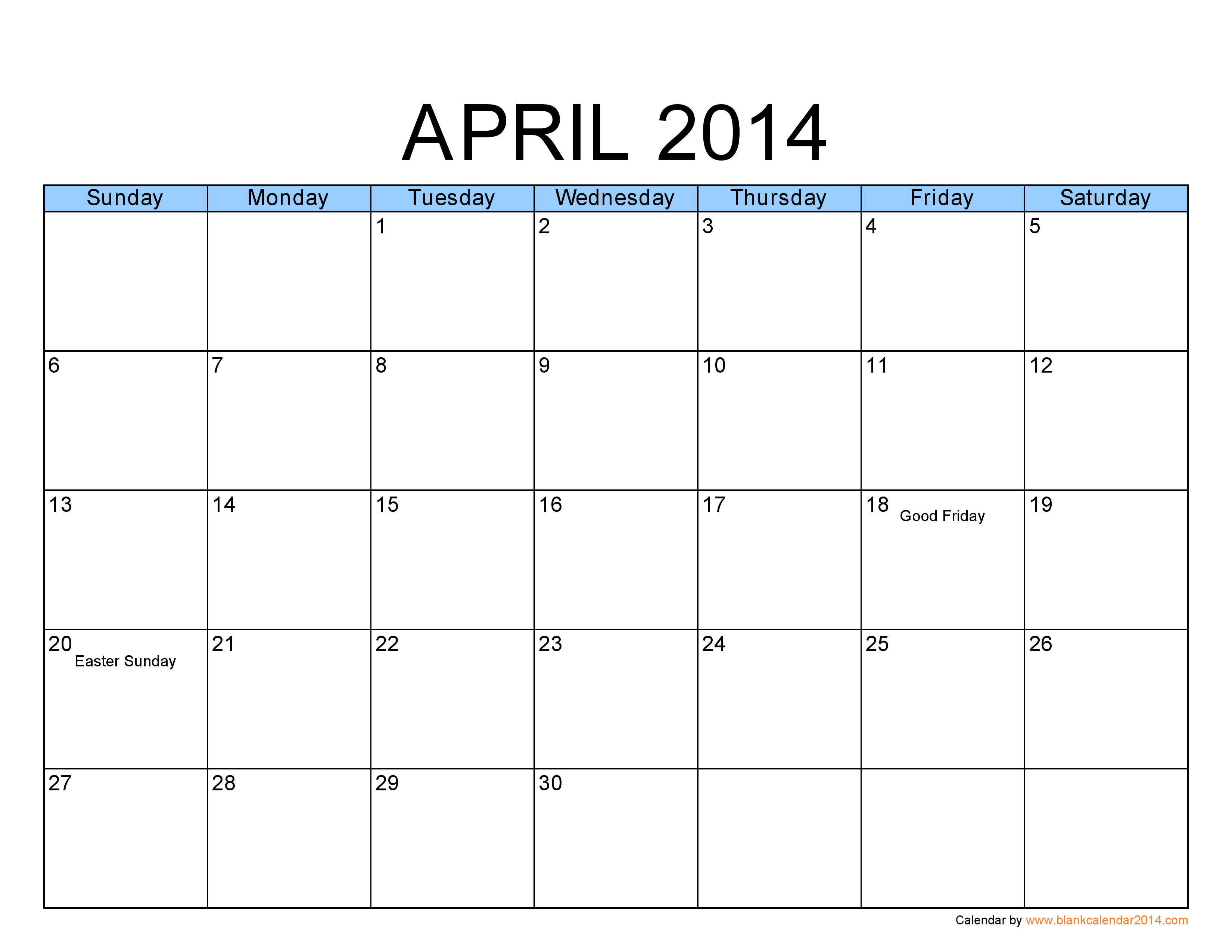 Blank Calendar April Pdf : Blank calendar month template