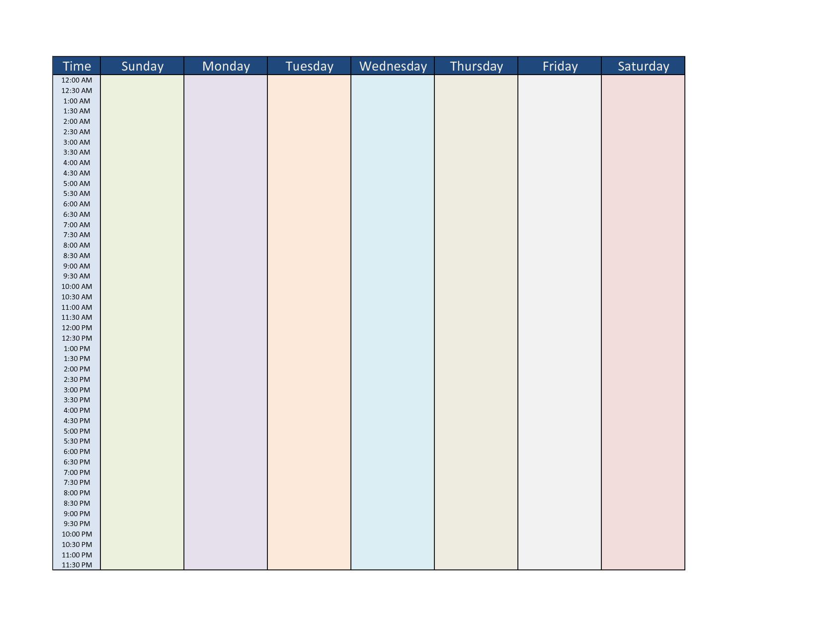 7Day Calendar Template
