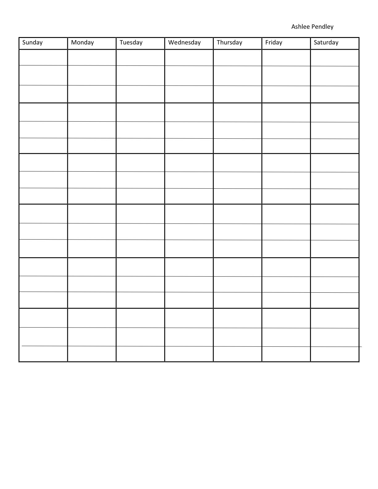 7Day Blank Calendar Template