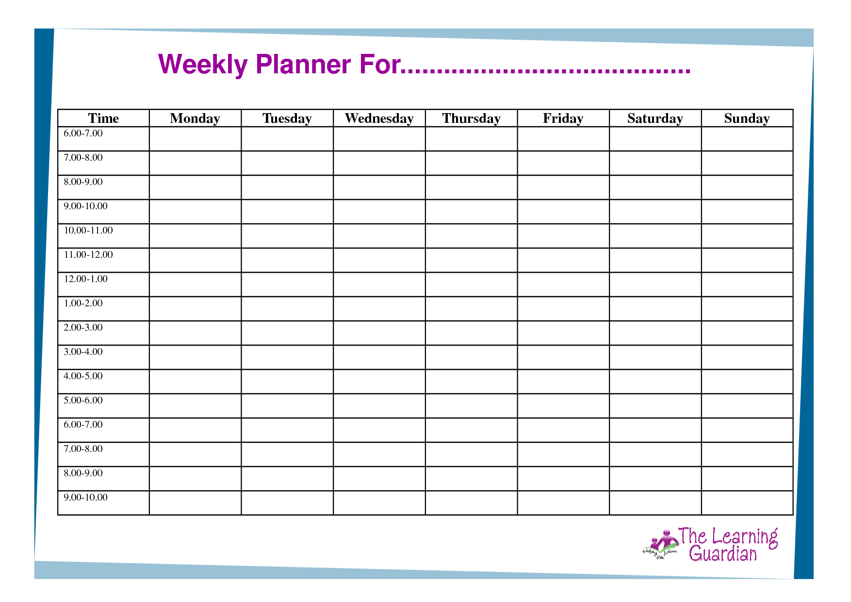 Weekly Time Planner Template