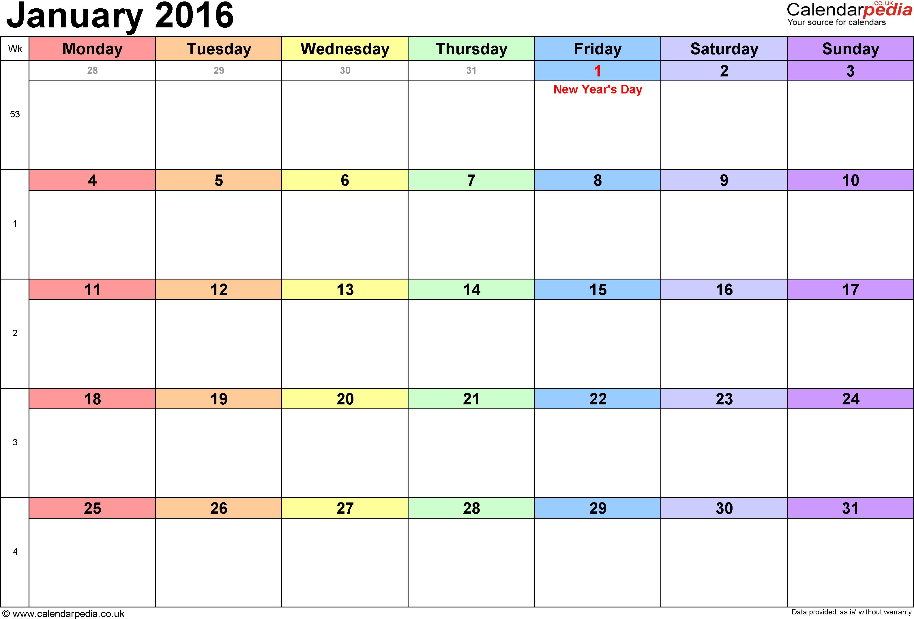 January 2016 Calendar Holidays