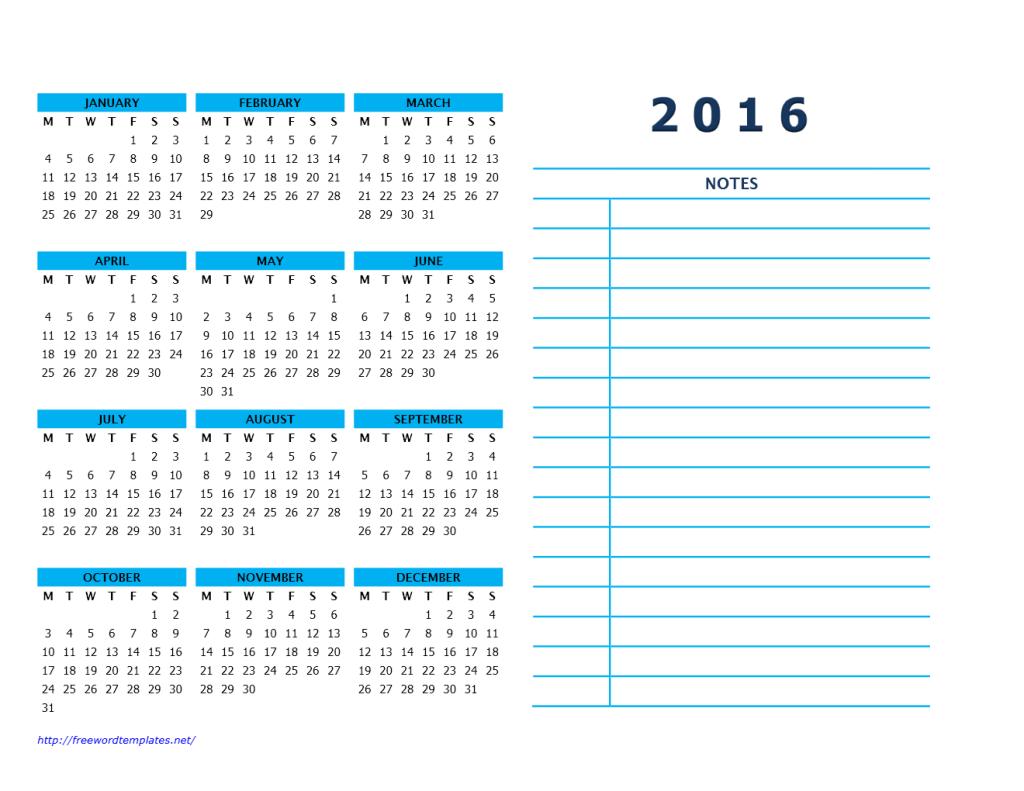 Calendar 2016 Printable with Notes