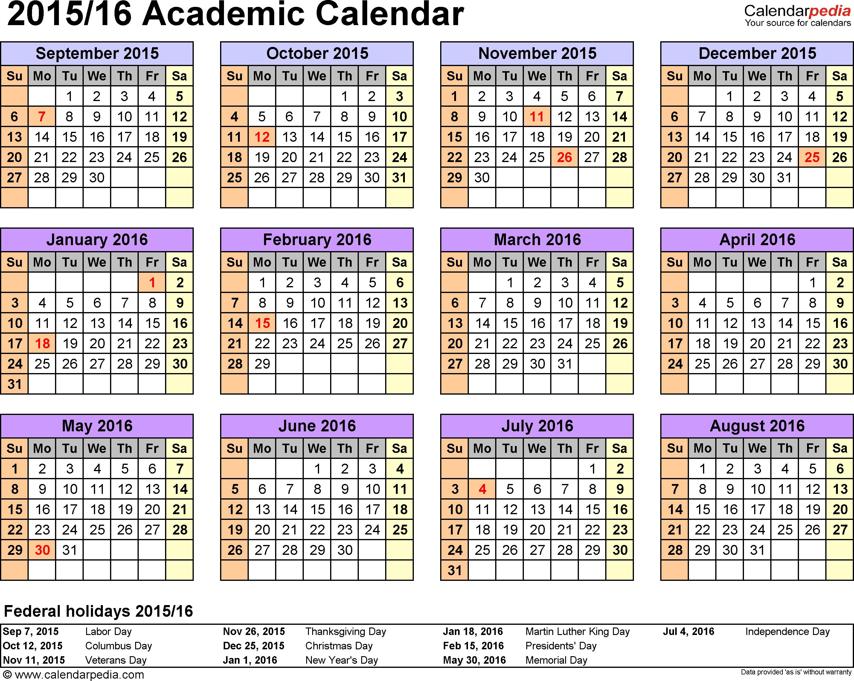 Academic Calendar 2015 2016