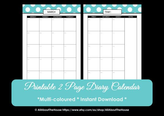 2016 Free Printable 2 Page Planner Calendar