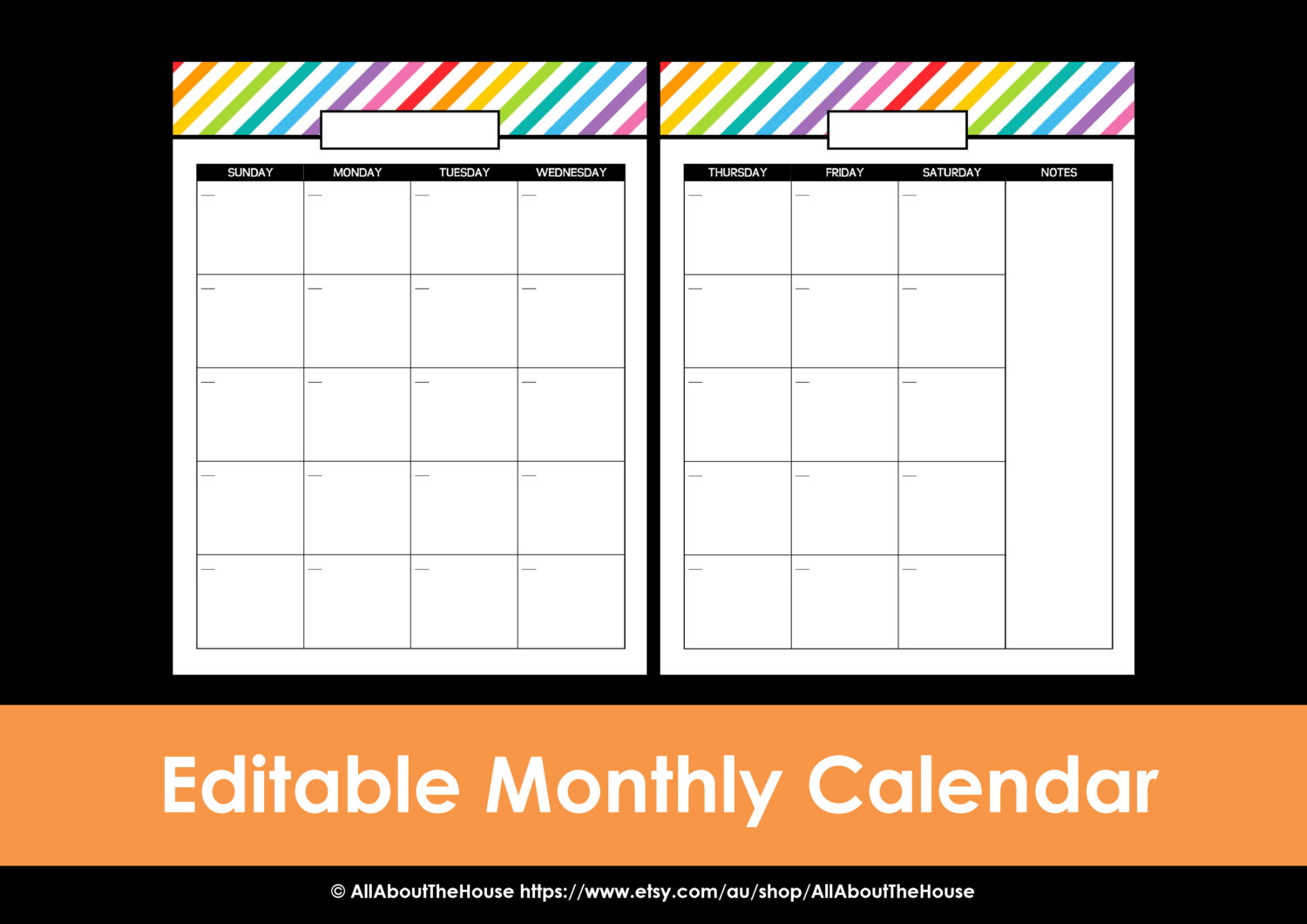 Printable 2 Page Monthly Calendar 2015