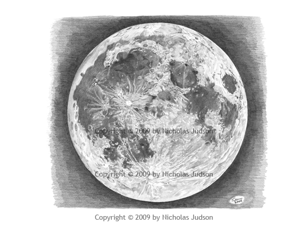 Full Moon Pencil Drawing