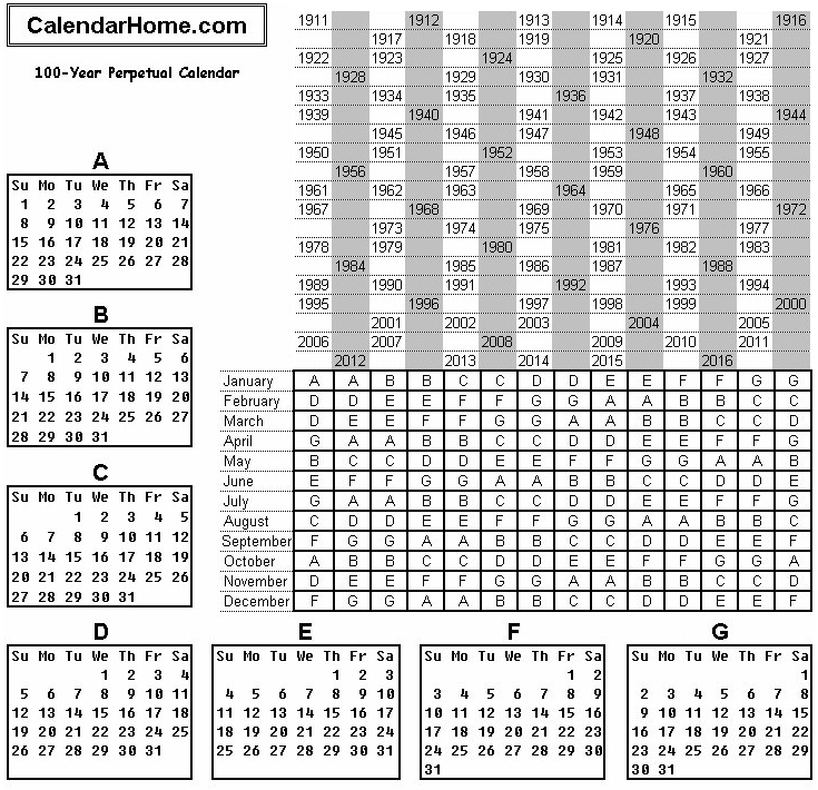 100 Year Perpetual Calendar
