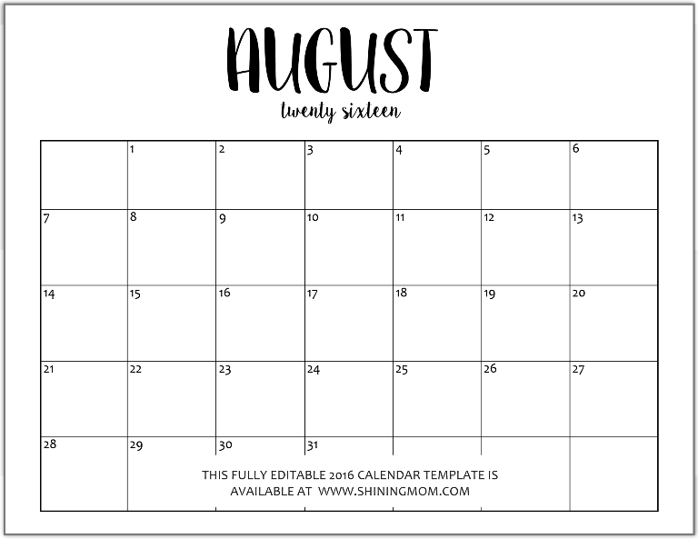 Editable blank monthly calendar template calendar template 2017 august 2016 calendar template editable pronofoot35fo Image collections