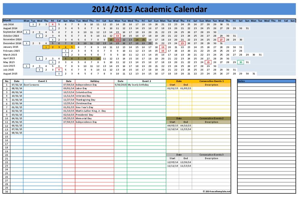 2015 Excel Calendar Spreadsheet Template