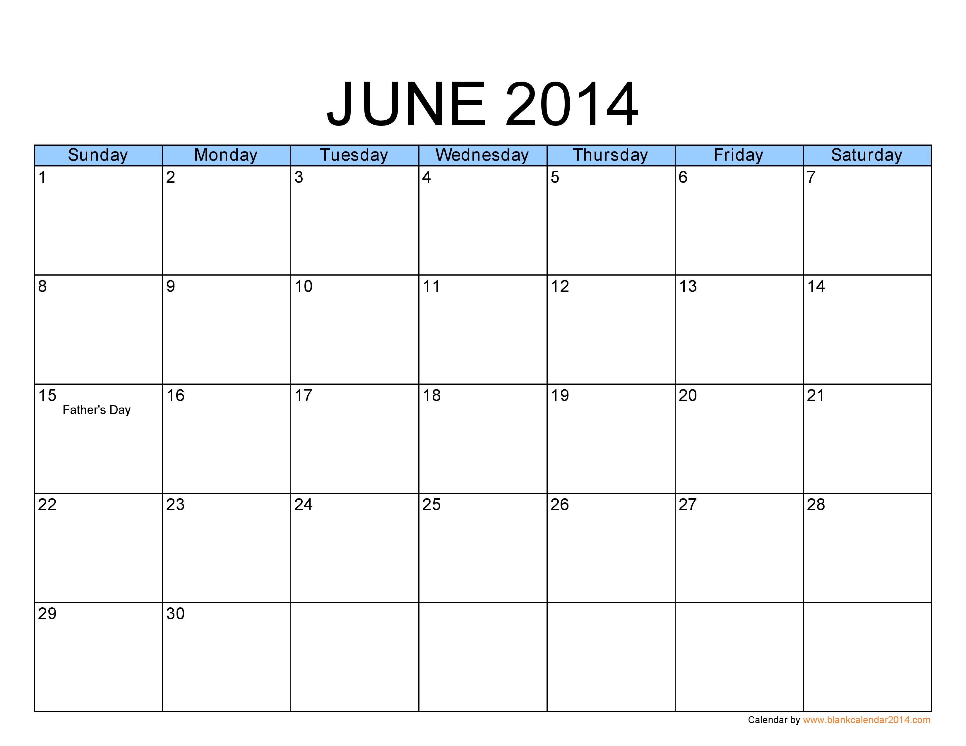 June 2014 Calendar Printable