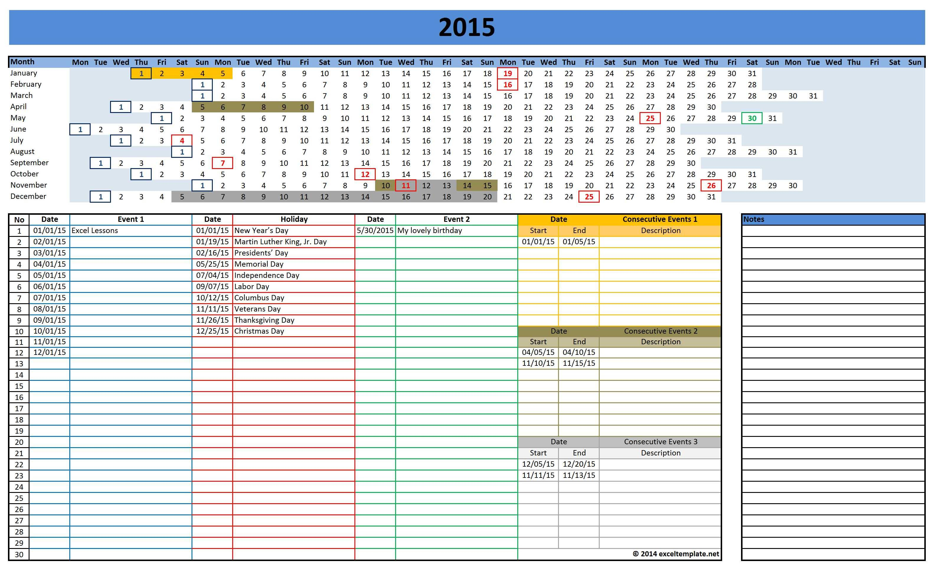 Monthly Class Attendance Sheet Template – Sample 2015 Calendar